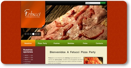 diseño web fetucci pizza party integrada con sistema autoadministrable y optimizada para posicionamiento organico en google